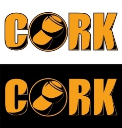 Champagne cork yellow logo black background vector