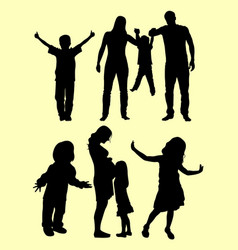 children silhouette vector image