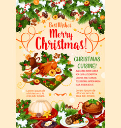 Christmas cuisine poster with new year dinner vector
