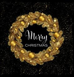 Christmas wreath pine branches vector