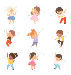 Cute boys and girls singing and dancing set vector
