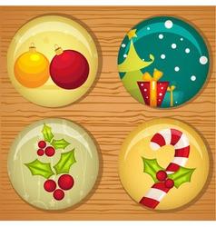 Cute Christmas badges vector