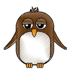 Cute penguin sad kawaii character vector