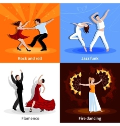 Dancing People 2x2 Icons Set vector image