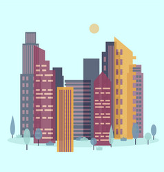 day cityscape skyline with sun vector image
