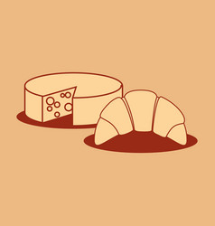 delicious cheese with croissant vector image
