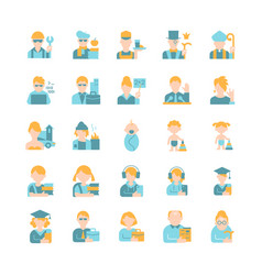 Different people avatars flat color icon set vector