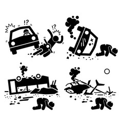 disaster accident tragedy of car motorcycle vector image