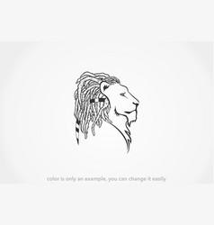dreadlocks lion side view vector image
