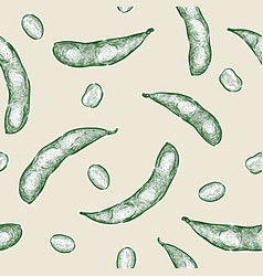 edamame hand draw sketch seamless pattern vector image