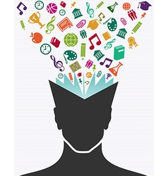Education colorful icons human head book vector
