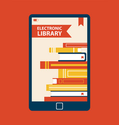 electronic library device vector image