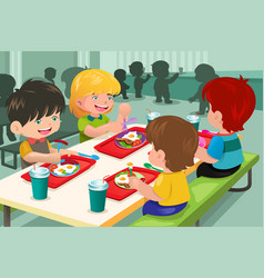 Elementary students eating lunch in cafeteria vector