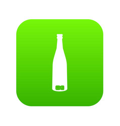 empty wine bottle icon digital green vector image