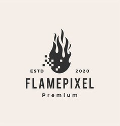 fire flame pixel hipster vintage logo icon vector image