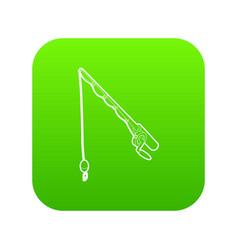 fishing rod icon green vector image