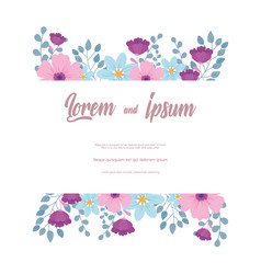 Flowers wedding greeting card or invitation vector