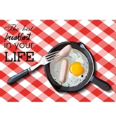 Fried eggs and sausage on pan food ingredients vector image