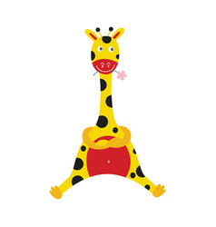 Giraffe cartoon character sitting with crossed vector