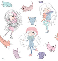 Girls and catss pattern vector