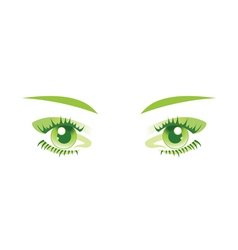Green eyes isolated vector