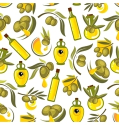 Green olives branches and olive oil background vector