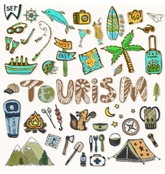 Hand draw Travel icons set Summer holiday - vector image