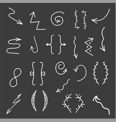 Hand drawn arrows lines isolated on black vector