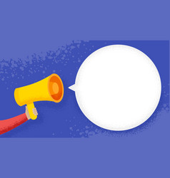 hand holding megaphone with blank speech bubble vector image