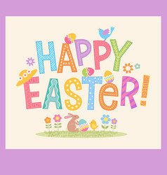 Happy easter hand drawn decorative lettering vector