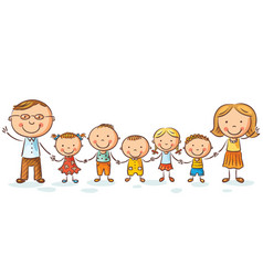 Happy family with many children vector