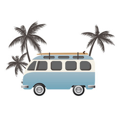 Hippie bus with surfboard vector