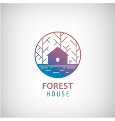 house in the woods logo vector image