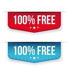 Hundred percent free ribbon set vector image