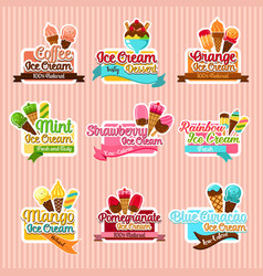 Ice cream sorts stickers icons set for cafe vector