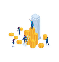 Isometric businessmen carry money to an investment vector