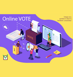 isometric concept group people give online vector image