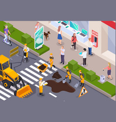 Isometric road construction composition vector