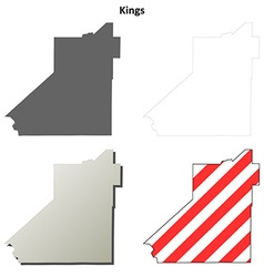 Kings County California outline map set vector