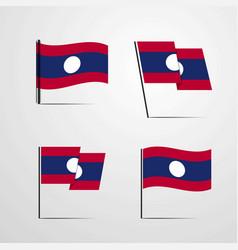 laos waving flag set design vector image