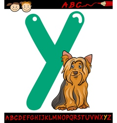 Letter y for yorkshire terrier dog vector