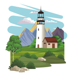 Lighthouse and beautilful landscape vector