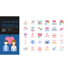 love and wedding icons flat icon design vector image