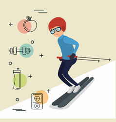 man skiing with sports icons vector image
