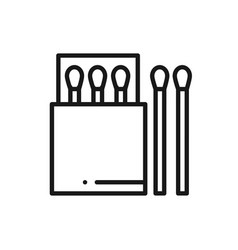 match stick line icon campfire sign and symbol vector image