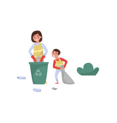mother and her son gathering garbage for recycling vector image
