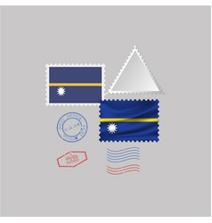 Nauru flag postage stamp set isolated on gray vector