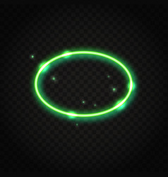 neon green oval frame with space for text vector image