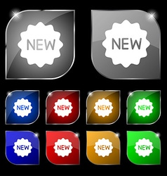 New Icon sign Set of ten colorful buttons with vector