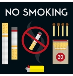 No smoking sign with cigarettes lighter and vector